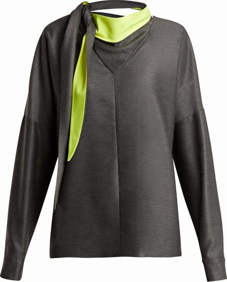 Tibi Tie-neck bandana jersey top