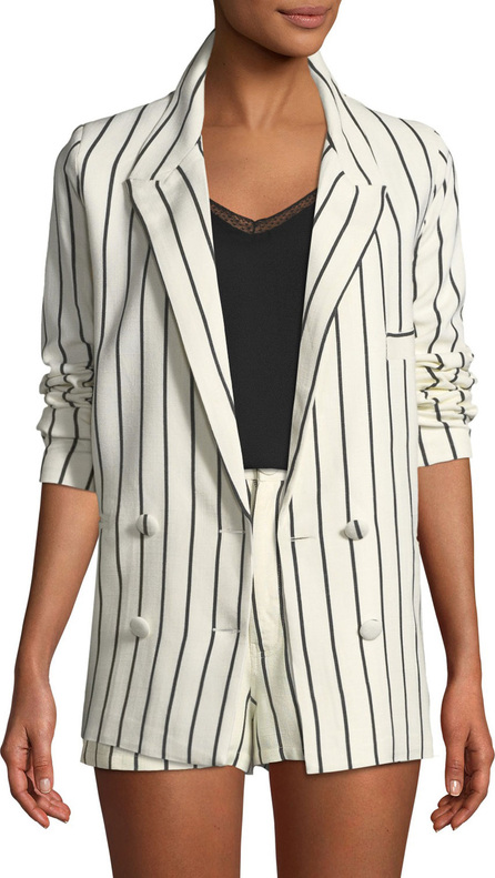 Lovers + Friends Fanning Striped Double-Breasted Linen Blazer