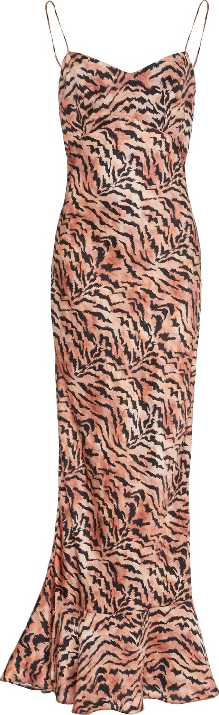 Saloni Mimi Tiger-Print Silk-Satin Slip Dress