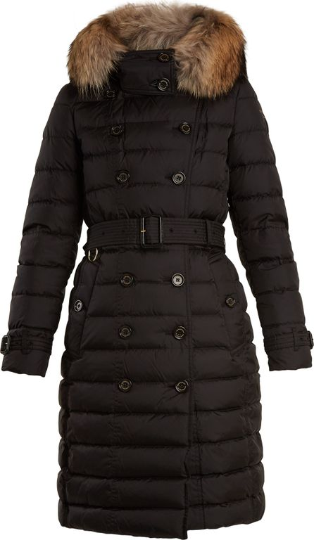 Burberry London England Dalmerton fur-trimmed belted quilted-down coat