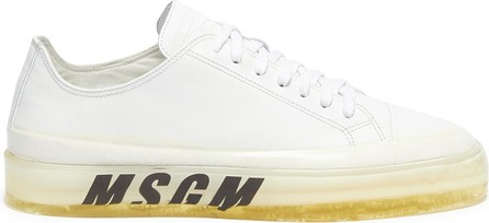 MSGM 'Floating' logo print leather sneakers