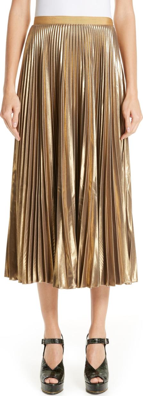 Dries Van Noten Pleated Metallic Skirt