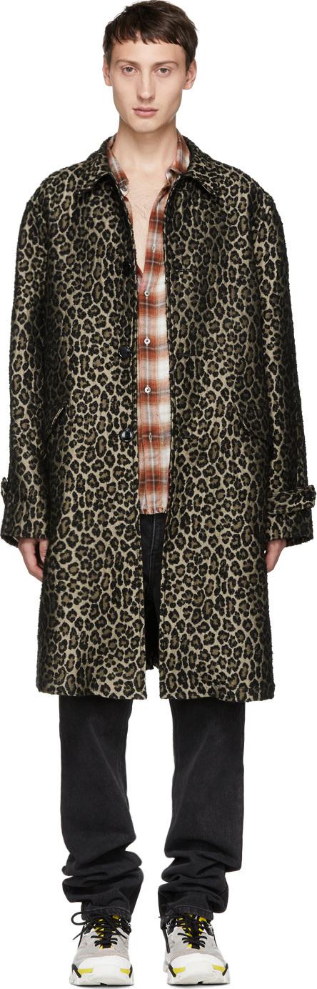 Adaptation Black & Beige Leopard Vintage Trench Coat