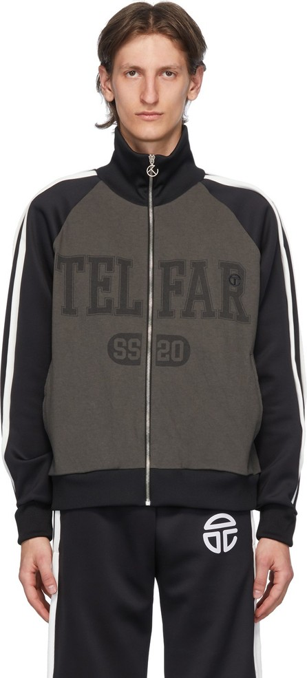 Telfar Black & Grey Raglan Track Jacket