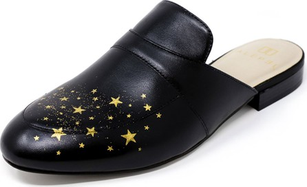 Alepel Hand-Painted Star Flat Leather Slide Mules