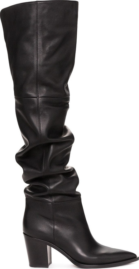 Gianvito Rossi Black 70 Leather Slouch Boots