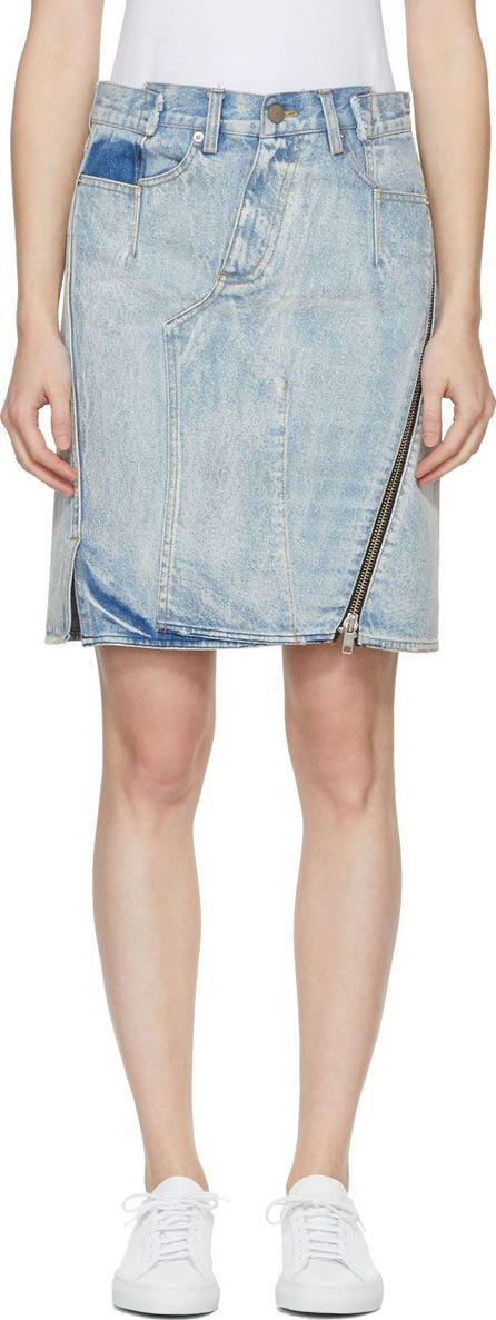 3.1 Phillip Lim Indigo Denim Asymmetric Zipper Miniskirt