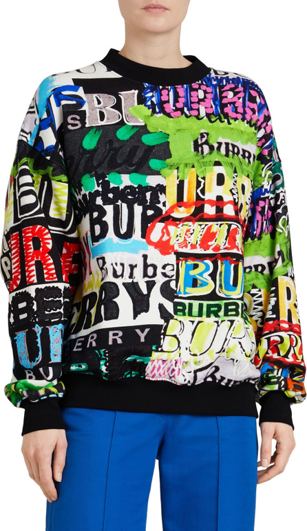 Burberry London England Aner Graffiti Logo Cotton Jersey Sweatshirt