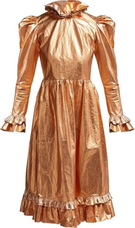 Batsheva Ruffled coated-cotton prairie midi dress