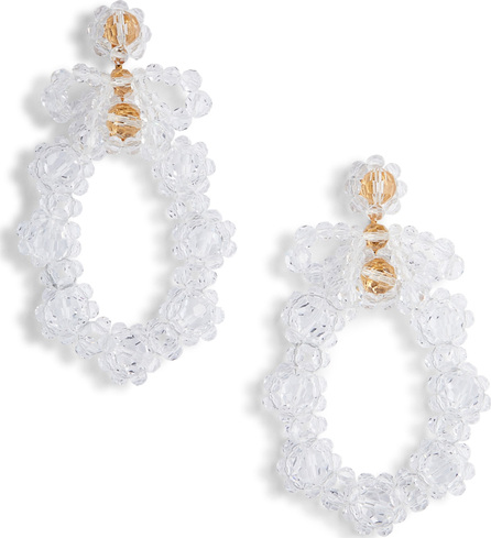 Simone Rocha Bow Circle Beaded Drop Earrings