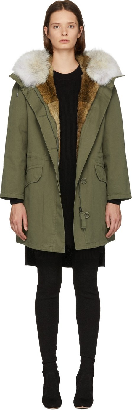 Army By Yves Salomon Green Multi Fur Classic Long Parka