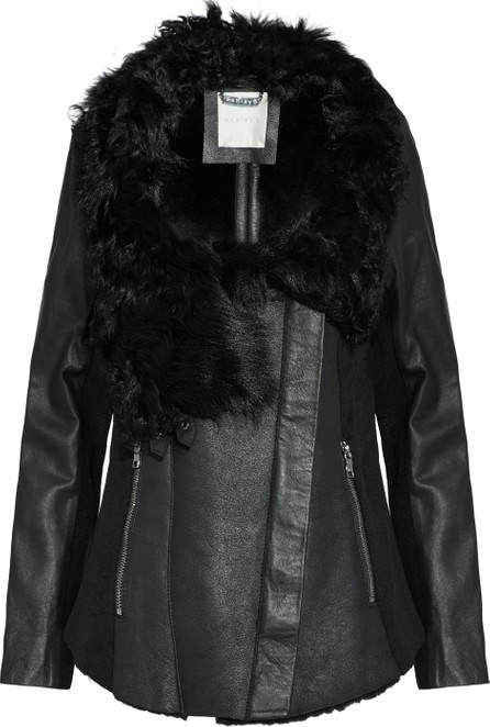 Ashley B Wool-paneled shearling and leather biker jacket