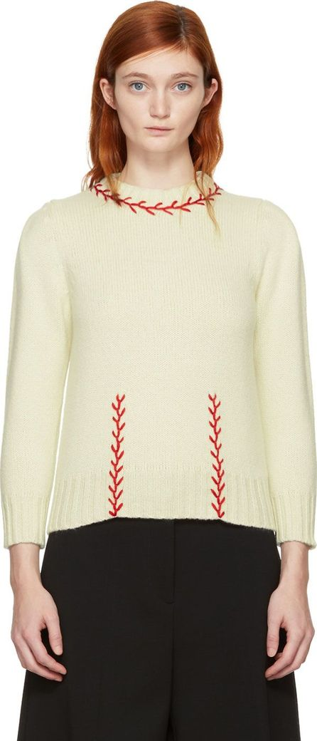 Alexander McQueen Ivory & Red Embroidered Cashmere Sweater