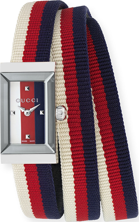 Gucci G-Frame Rectangle Double-Wrap Web Watch