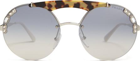 Prada Embellished round-frame metal sunglasses