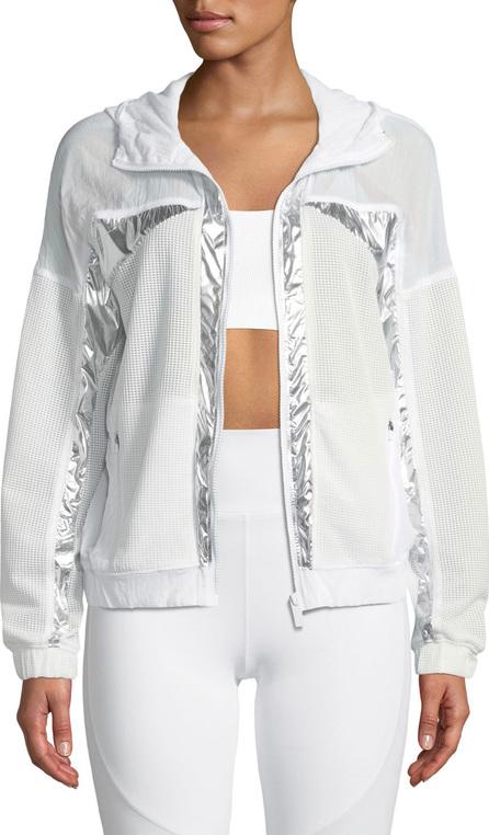 ALALA Strata Metallic Zip-Front Mesh Jacket