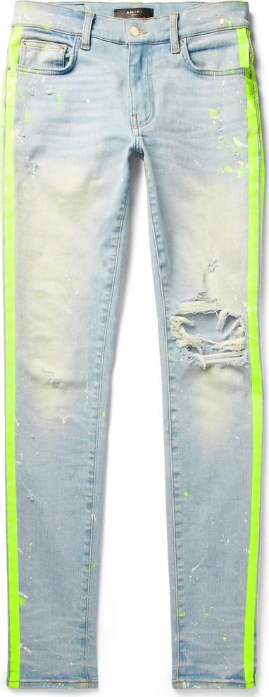 Amiri Broken Painter Skinny-Fit Neon-Striped Distressed Stretch-Denim Jeans