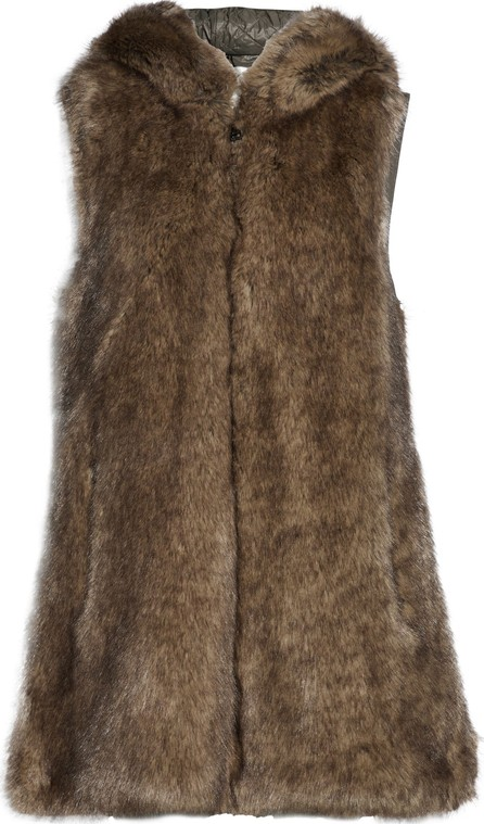 Ashley B Paneled faux fur and quilted shell hooded gilet
