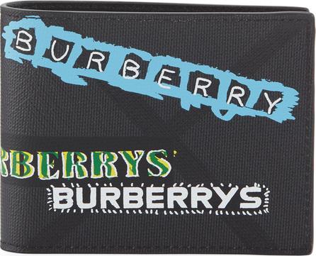 Burberry London England Men's Graffiti Logo-Print Leather Bi-Fold Wallet