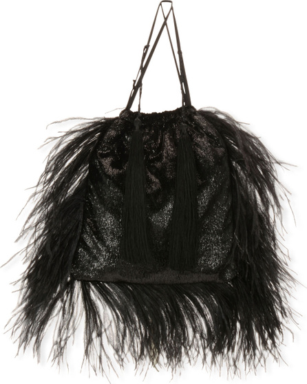 Attico Velvet and Feathers Pouch Bag