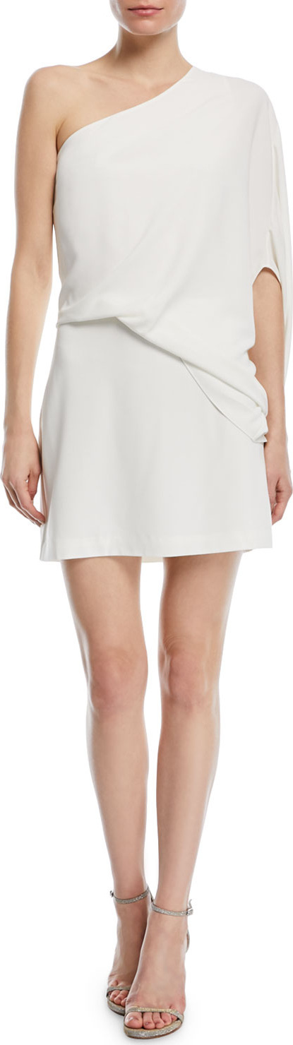 HALSTON HERITAGE One-Sleeve Draped Cocktail Dress