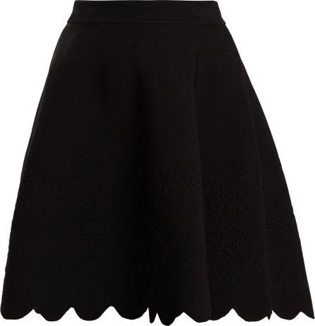 Alexander McQueen Scalloped-hem matelassé skirt