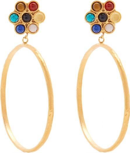 Flower gold-plated clip-on hoop earrings Sylvia Toledano yQcSO
