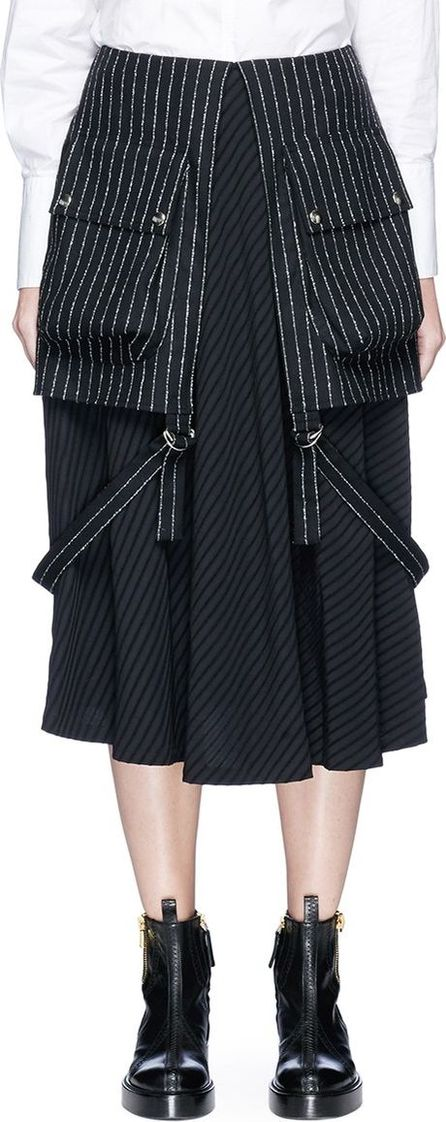 Aalto 'Army' pocket overlay pinstripe suiting skirt