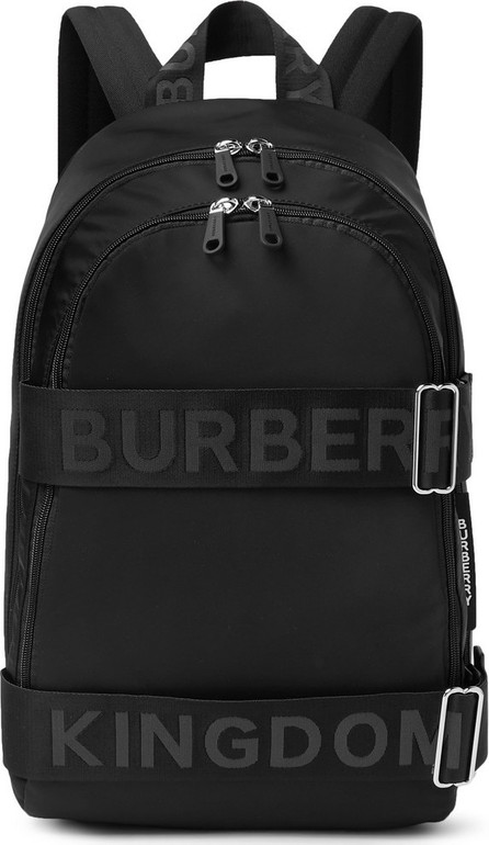 Burberry London England Logo-Jacquard Webbing and Leather-Trimmed Shell Backpack