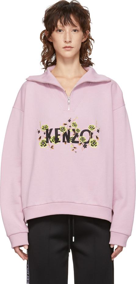 KENZO Pink Zippered High Collar Sweatshirt