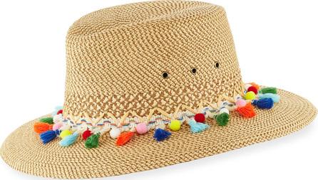 Eric Javits Bahia Squishee Packable Sun Fedora Hat, Beige
