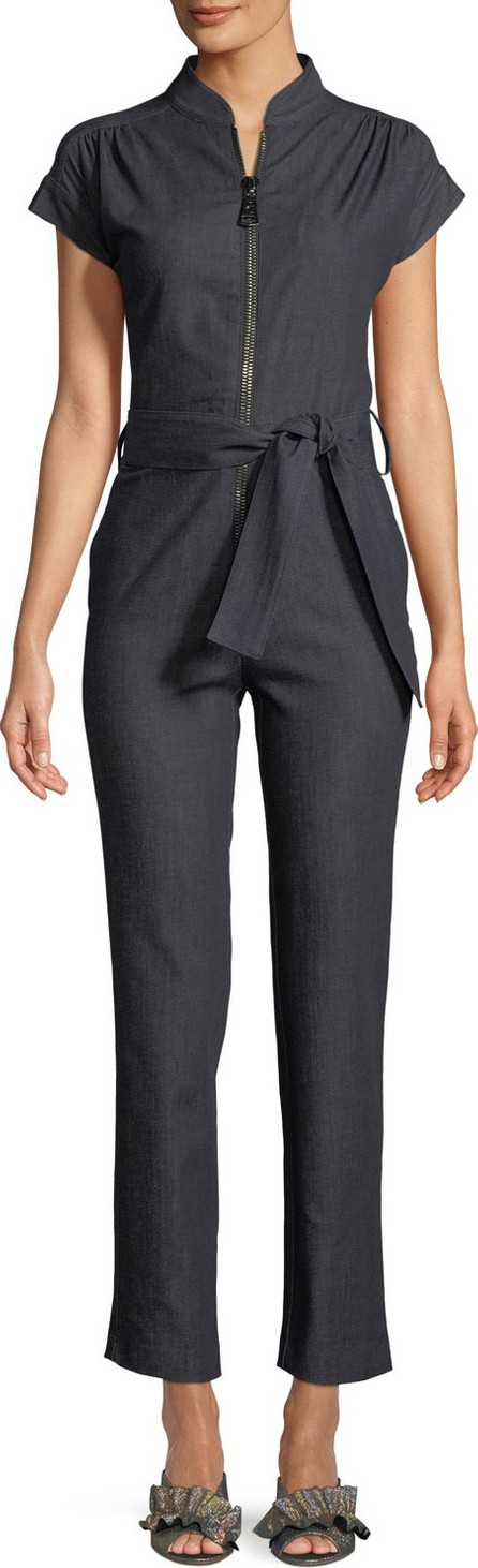 Carolina Ritzler Soul Cap-Sleeve Zip-Front Straight-Leg Denim Jumpsuit