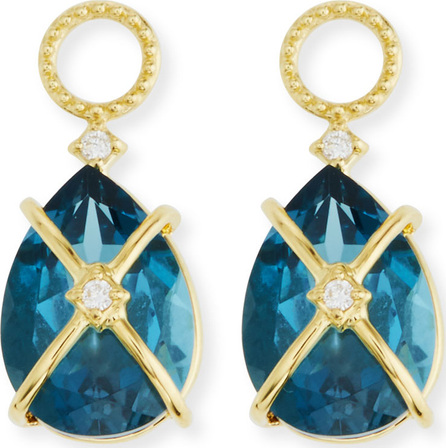Jude Frances 18k Lisse Tiny Criss Cross Pear Stone Earring Charms, Blue