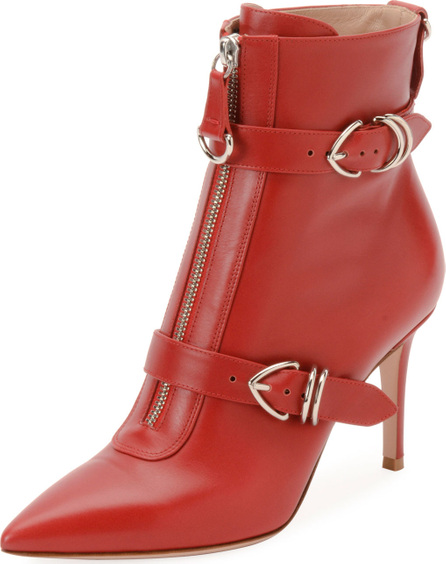 Gianvito Rossi Napa Buckled Zip-Front Ankle Booties, Red