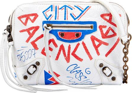 Balenciaga BB Chain Leather Graffiti Wallet