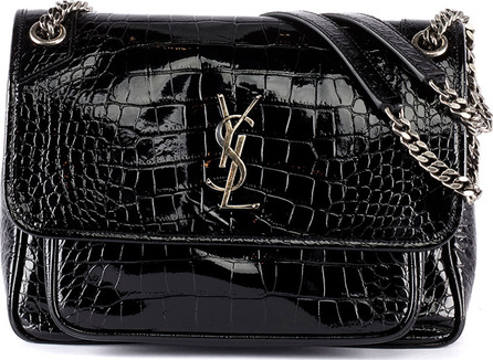 Saint Laurent Niki Medium Monogram YSL Croco Shoulder Bag