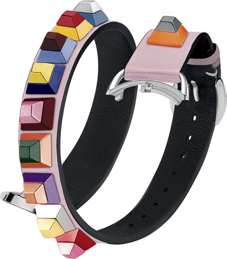 Fendi 17mm Selleria Strap You Leather Watch Strap with Multicolor Studs
