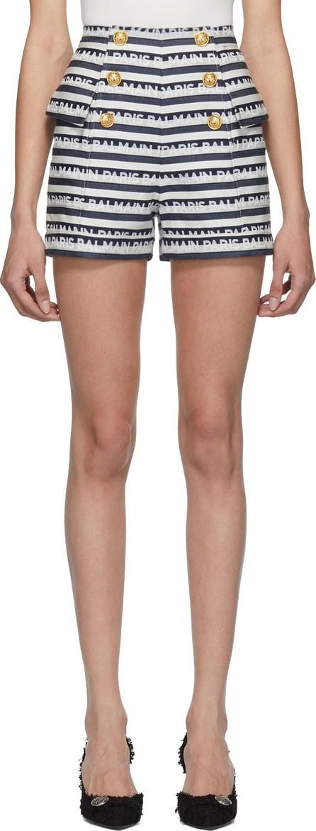 Balmain Navy & White Stripe Logo Button Shorts