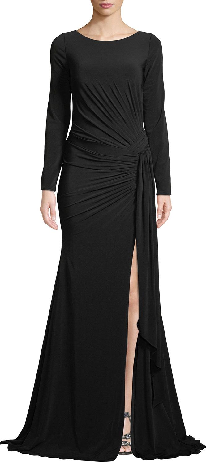 Jovani Long-Sleeve Jersey Gown w/ Ruching in Black - mkt