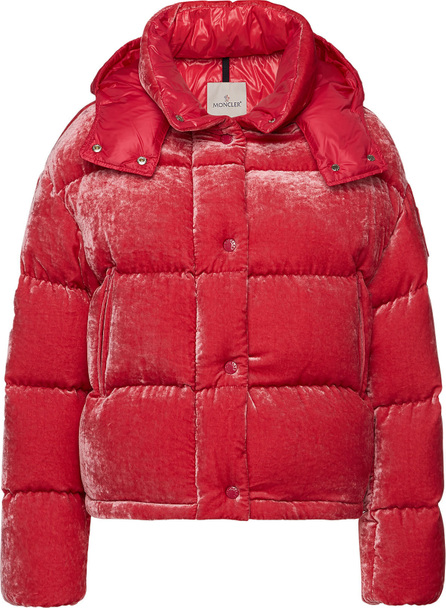 Moncler Caille Velvet Down Jacket with Silk