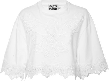 Fausto Puglisi Cropped Lace T-Shirt