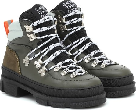 Ganni Sporty Hiking leather ankle boots