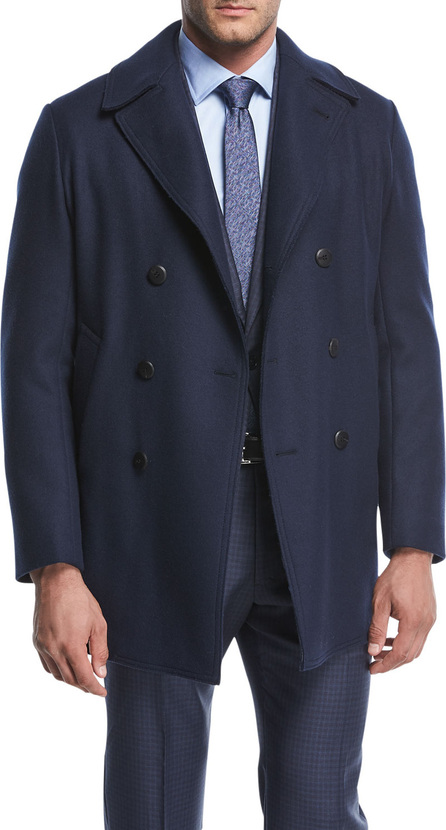 Armani Collezioni Wool-Blend Double-Breasted Pea Coat