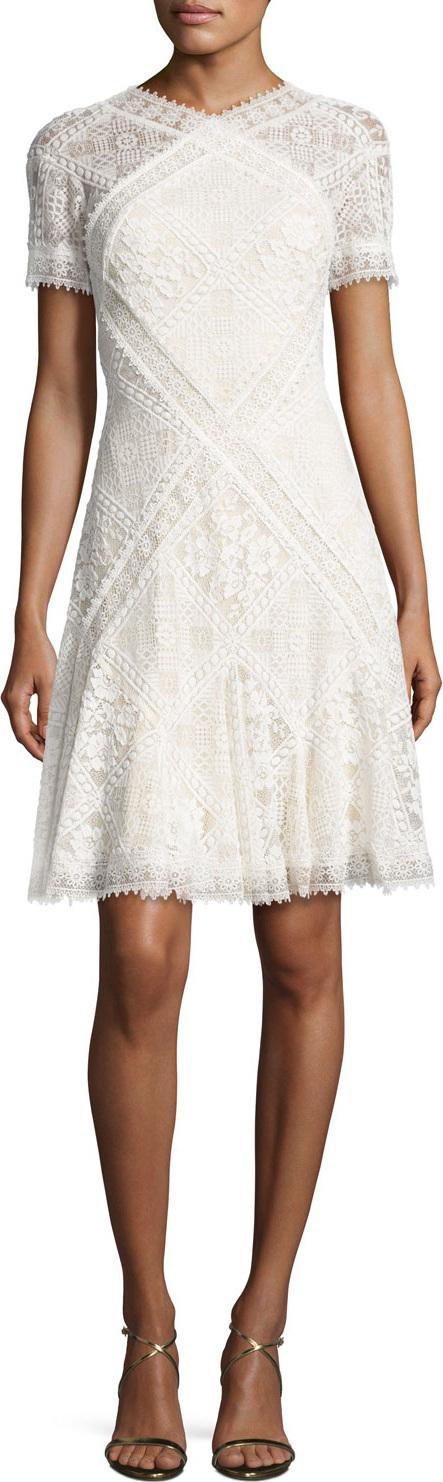Tadashi Shoji Short-Sleeve Paneled Lace A-Line Dress, Ivory