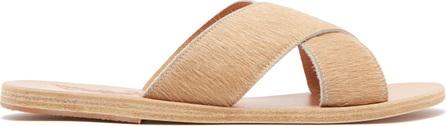 Ancient Greek Sandals Thais leather & calf hair sandals