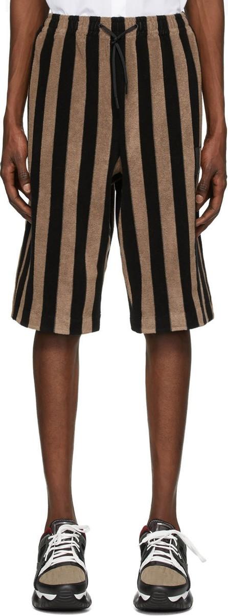 Fendi Black & Brown Terry Bermuda Shorts