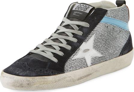 Golden Goose Deluxe Brand Mid-Top Star Glitter Sneaker, Black/Silver