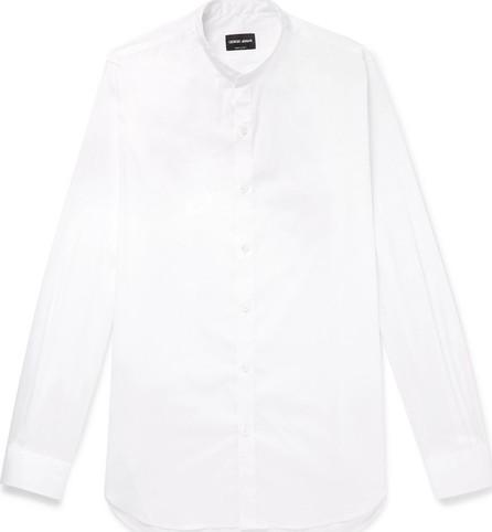 Giorgio Armani Grandad-Collar Stretch Cotton-Blend Shirt