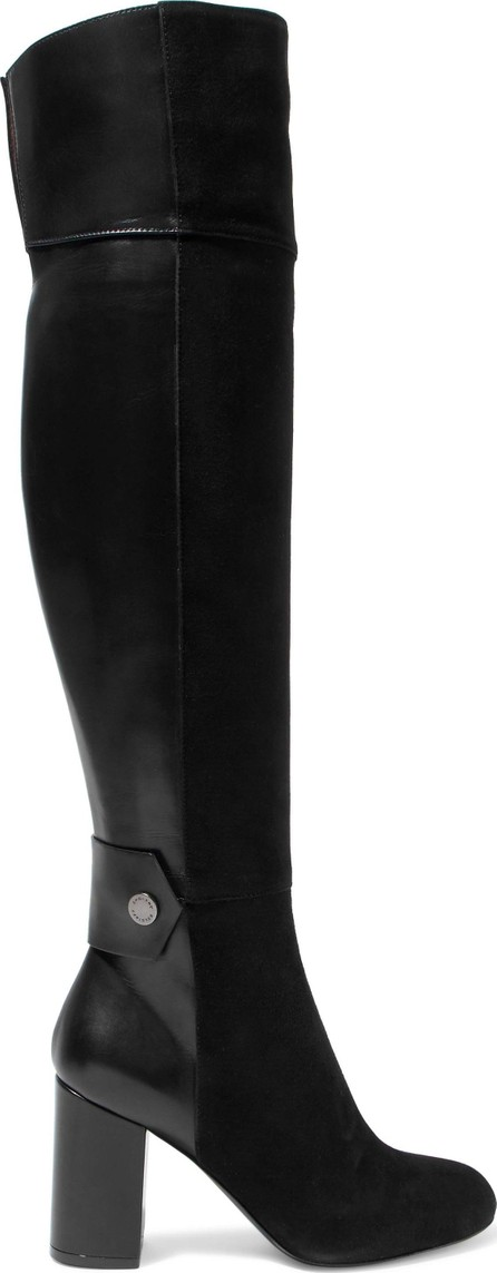 Belstaff Paneled leather and suede over-the-knee boots