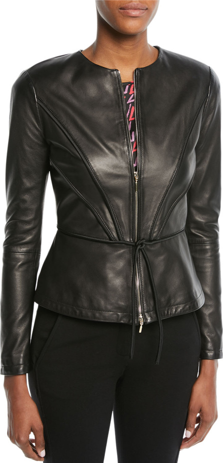 Emporio Armani Zip-Front Pleated Leather Jacket w/ Tie Detail